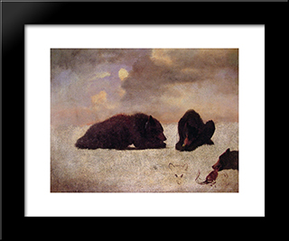 Grizzly Bears: Modern Black Framed Art Print by Albert Bierstadt