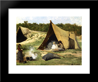 Indian Camp: Modern Black Framed Art Print by Albert Bierstadt