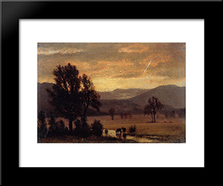 Landscape With Cattle: Modern Black Framed Art Print by Albert Bierstadt