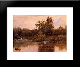 Landscape, New Hampshire: Modern Black Framed Art Print by Albert Bierstadt