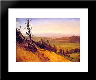 Newbraska Wasatch Mountains: Modern Black Framed Art Print by Albert Bierstadt