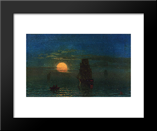 Ships In Moonlight: Modern Black Framed Art Print by Albert Bierstadt