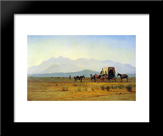 Surveyors Wagon In The Rockies: Modern Black Framed Art Print by Albert Bierstadt