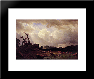 Thunderstorm In The Rocky Mountains: Modern Black Framed Art Print by Albert Bierstadt