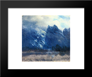 Yosemite Valley Twin Peaks: Modern Black Framed Art Print by Albert Bierstadt