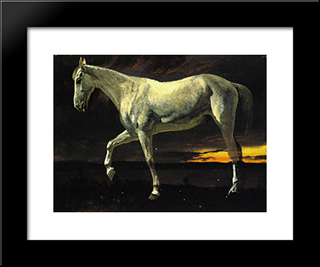 White Horse And Sunset: Modern Black Framed Art Print by Albert Bierstadt