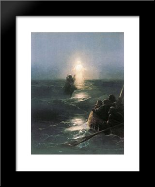 Jesus Walks On Water: Modern Black Framed Art Print by Ivan Aivazovsky