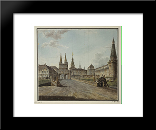 View Of Voskresenskiye (Resurrection) And Nikolskiye Gates: Modern Black Framed Art Print by Fyodor Alekseyev