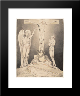 Illustration To Milton`S Paradise Lost: Modern Black Framed Art Print by William Blake