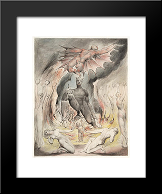 Illustration To Milton`S On The Morning Of Christ`S Nativity: Modern Black Framed Art Print by William Blake