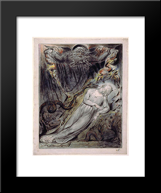 Illustration To Milton`S Comus: Modern Black Framed Art Print by William Blake