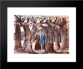 Illustration To Dante'S Divine Comedy, Hell: Modern Black Framed Art Print by William Blake
