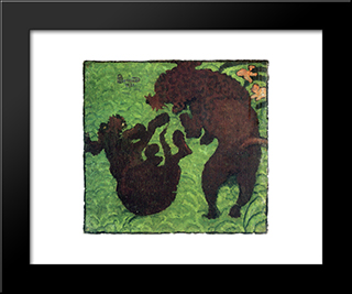 Two Poodles: Custom Black Ornate Gallery Style Framed Art Print by Pierre Bonnard