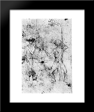 The Temptation Of Eve By The Serpent: Modern Black Framed Art Print by Hieronymus Bosch