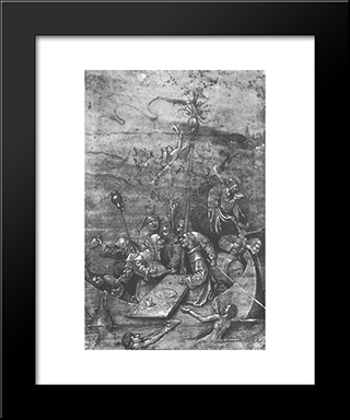 The Ship Of Fools: Modern Black Framed Art Print by Hieronymus Bosch