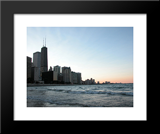Chicago & Lake Michigan: Modern Black Framed Art Print by Cityscape Series