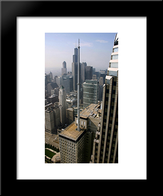 Chicago Loop Rooftops: Modern Black Framed Art Print by Cityscape Series