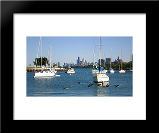 Sailboats And Chicago Skyline: Modern Black Framed Art Print by Cityscape Series