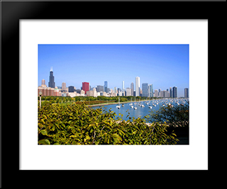 Chicago Cityscape And Lakefront: Modern Black Framed Art Print by Cityscape Series