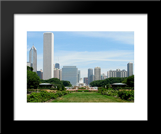 Chicago And Buckingham Fountain: Modern Black Framed Art Print by Cityscape Series