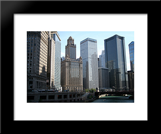 Chicago River And Buildings: Modern Black Framed Art Print by Cityscape Series