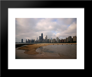Chicago North Beach: Modern Black Framed Art Print by Cityscape Series