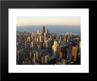 Chicago Rooftops: Modern Black Framed Art Print by Cityscape Series