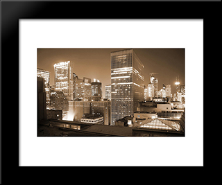Chicago Downtown At Night: Modern Black Framed Art Print by Cityscape Series
