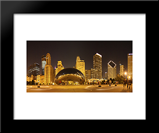 Chicago Bean At Night: Modern Black Framed Art Print by Cityscape Series