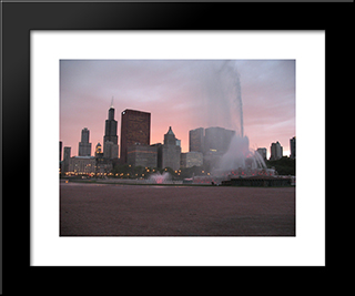 Chicago And Buckingham Fountain At Night: Modern Black Framed Art Print by Cityscape Series