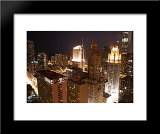 Chicago Rooftops At Night: Modern Black Framed Art Print by Cityscape Series