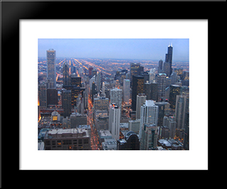 Chicago Skyline At Night: Modern Black Framed Art Print by Cityscape Series