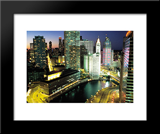 Downtown Chicago At Night: Modern Black Framed Art Print by Cityscape Series
