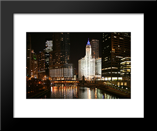 Chicago River At Night: Modern Black Framed Art Print by Cityscape Series
