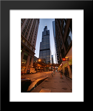 Willis Tower (Sears) At Night: Modern Black Framed Art Print by Cityscape Series