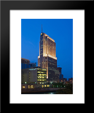 Nbc Tower In Chicago: Modern Black Framed Art Print by Cityscape Series