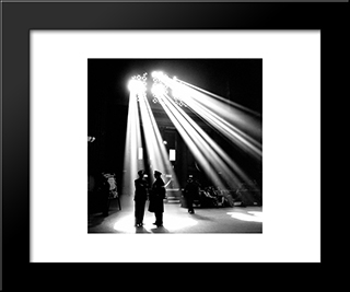 Chicago Union Station Waiting Room 1943: Modern Black Framed Art Print by Cityscape Series