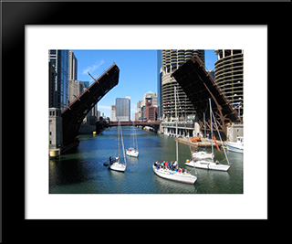 Chicago River At State Street Bridge: Modern Black Framed Art Print by Cityscape Series