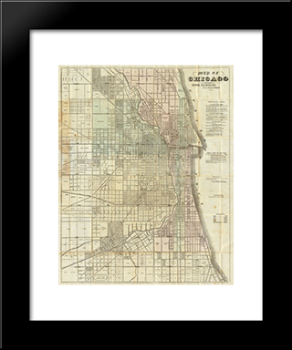 1857 Map Of Chicago: Modern Black Framed Art Print by Cityscape Series