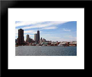 Chicago Navy Pier And Lake Michigan: Modern Black Framed Art Print by Cityscape Series