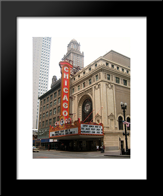 Chicago Theater: Modern Black Framed Art Print by Cityscape Series