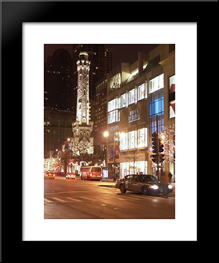 Chicago Water Tower At Night: Modern Black Framed Art Print by Cityscape Series