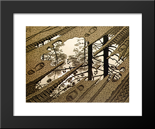 Puddle: Modern Black Framed Art Print by M.C. Escher