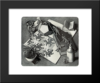 Reptiles: Modern Black Framed Art Print by M.C. Escher