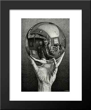 Self Portrait: Modern Black Framed Art Print by M.C. Escher