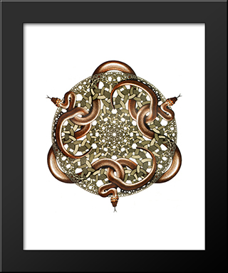 Snakes: Modern Black Framed Art Print by M.C. Escher