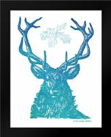 Indigo and Teal Deer I: Framed Art Print by Babbitt, Gwendolyn