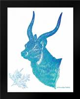 Indigo and Teal Deer II: Framed Art Print by Babbitt, Gwendolyn