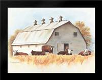 White Barn and Cattle: Framed Art Print by Babbitt, Gwendolyn