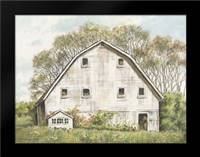 White Barn and Roses: Framed Art Print by Babbitt, Gwendolyn